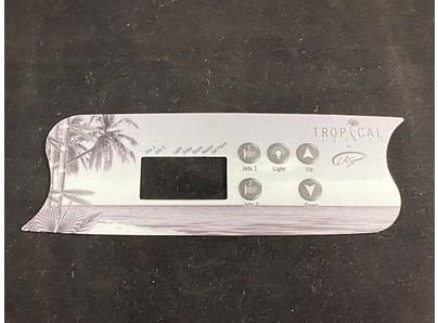 STICKER  L.A. SPAS TROPICAL  S-VORM  5 KNOPPEN  2 POMPEN  GEEN AIR